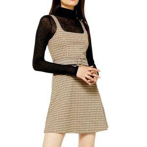 Topshop Dresses - TopShop Jacquard Checkered Pinafore Dress